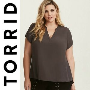 Torrid Plus Size Gray Short Sleeve Blouse